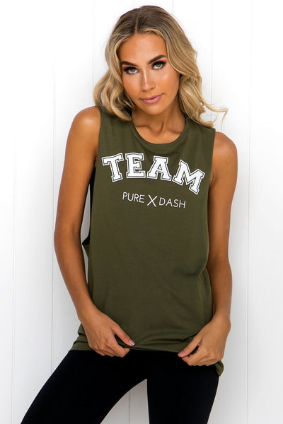 TEAM Pure Dash Tank - Army Green