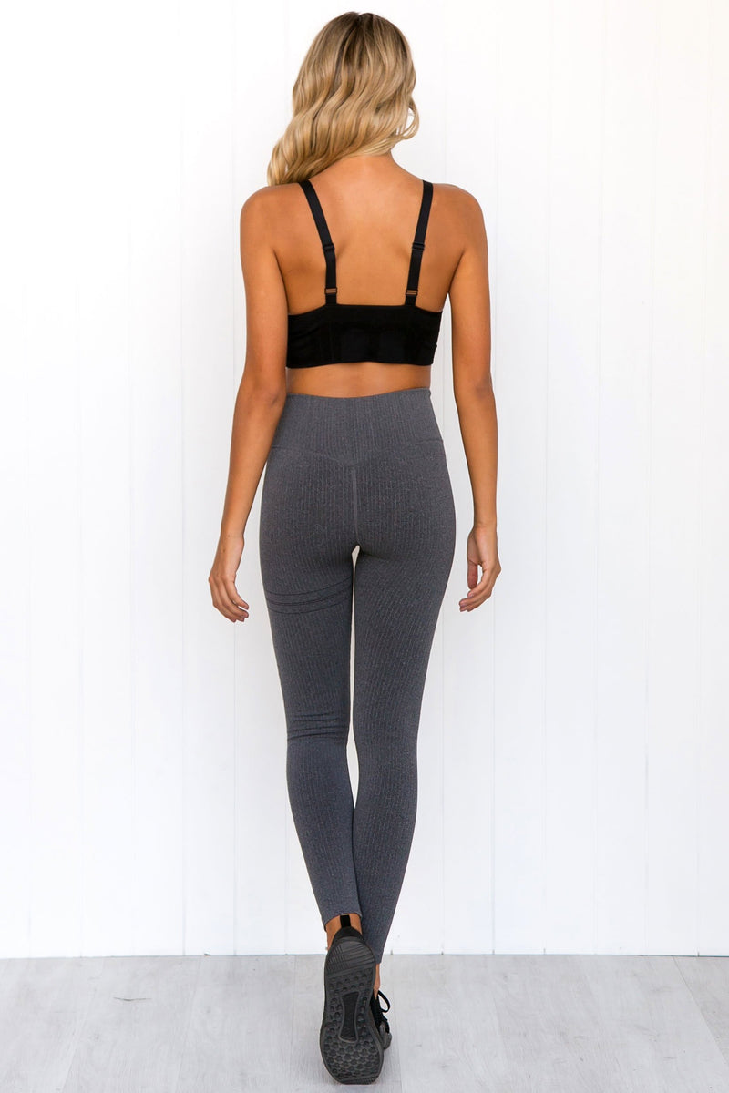 Grey Ribbed Seamless Tights - PURE DASH