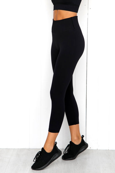 Black Ribbed Seamless 7/8 Tights - PURE DASH