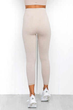 Beige Ribbed Seamless 7/8 Tights - PURE DASH