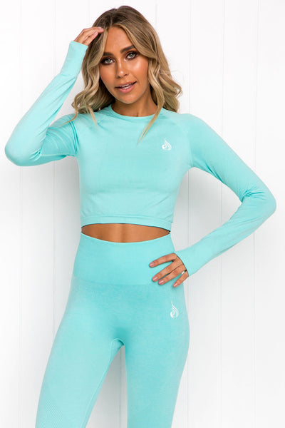 Seamless Long Sleeve Crop - Aqua Marle