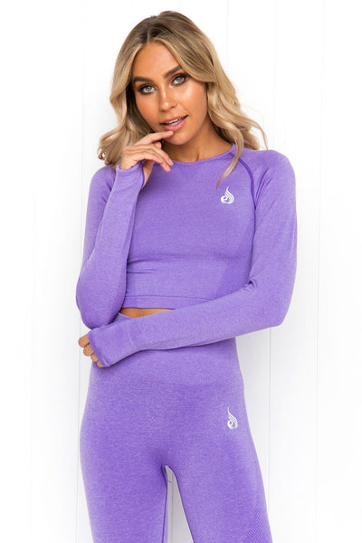 Seamless Long Sleeve Crop - Purple Marle