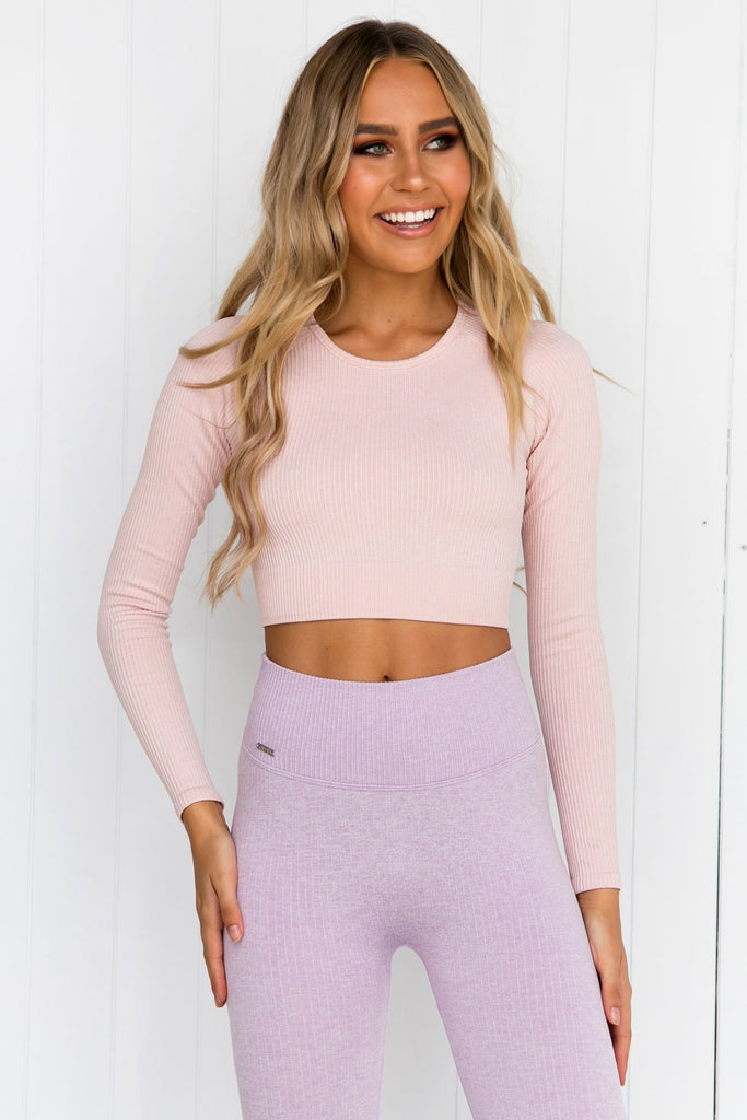 Peach Ribbed Seamless Long Sleeve