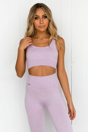 Purple Ribbed Seamless Bra - PURE DASH