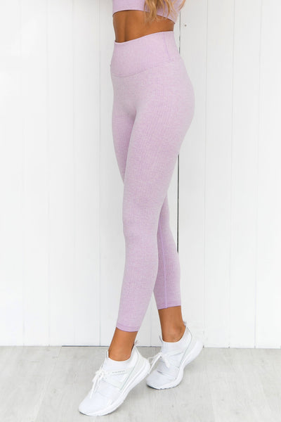 Purple Ribbed Seamless 7/8 Tights