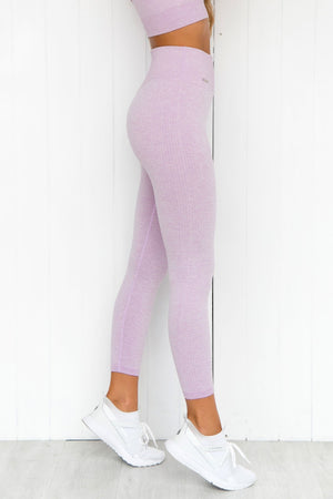 Purple Ribbed Seamless 7/8 Tights - PURE DASH
