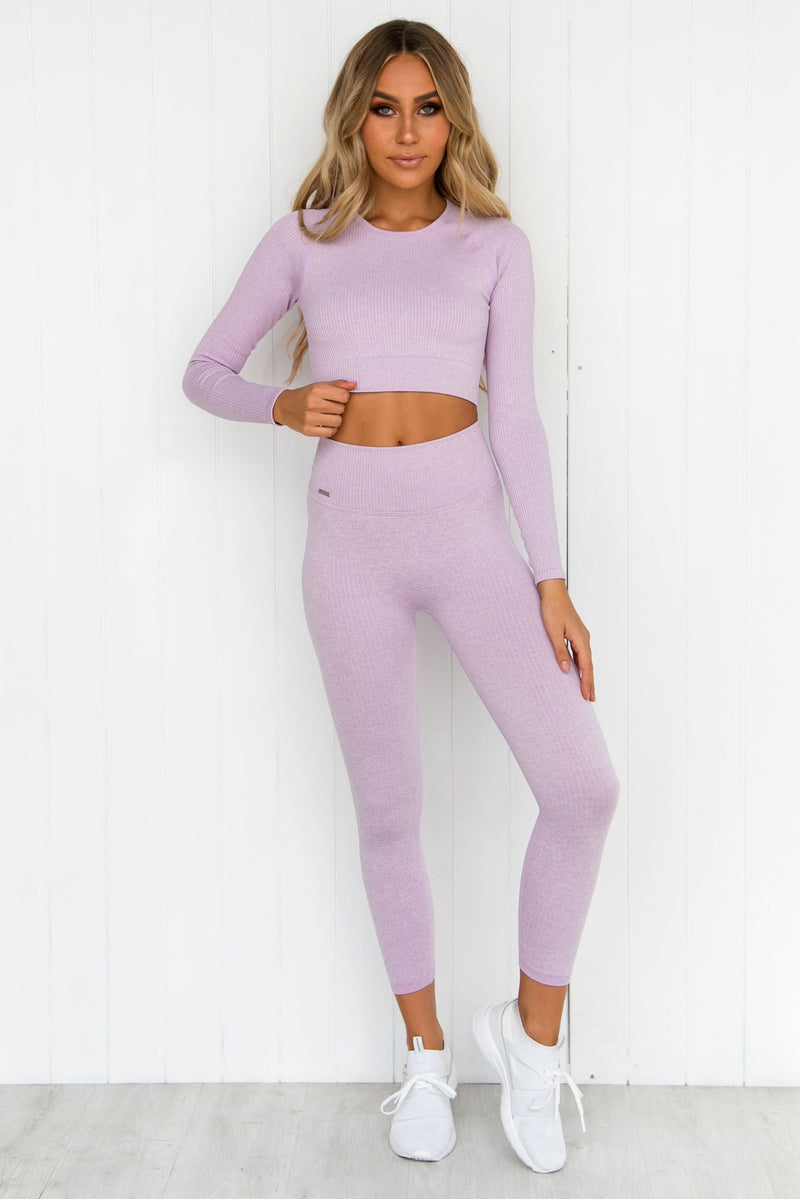 Purple Ribbed Seamless Long Sleeve - PURE DASH