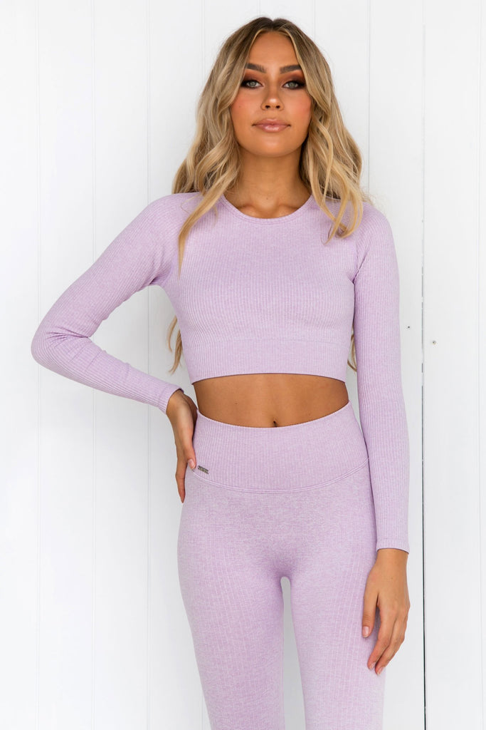 Purple Ribbed Seamless Long Sleeve