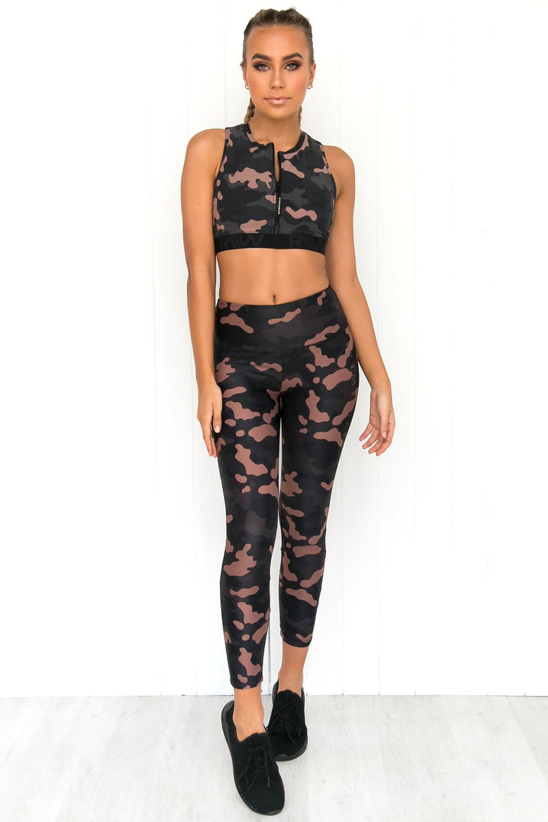 Zip Up Sports Bra - Camo - PURE DASH