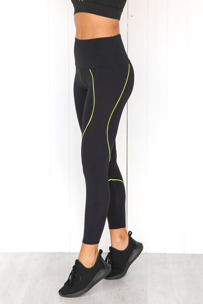 Hyper Beam Midi Leggings -Black/Neon