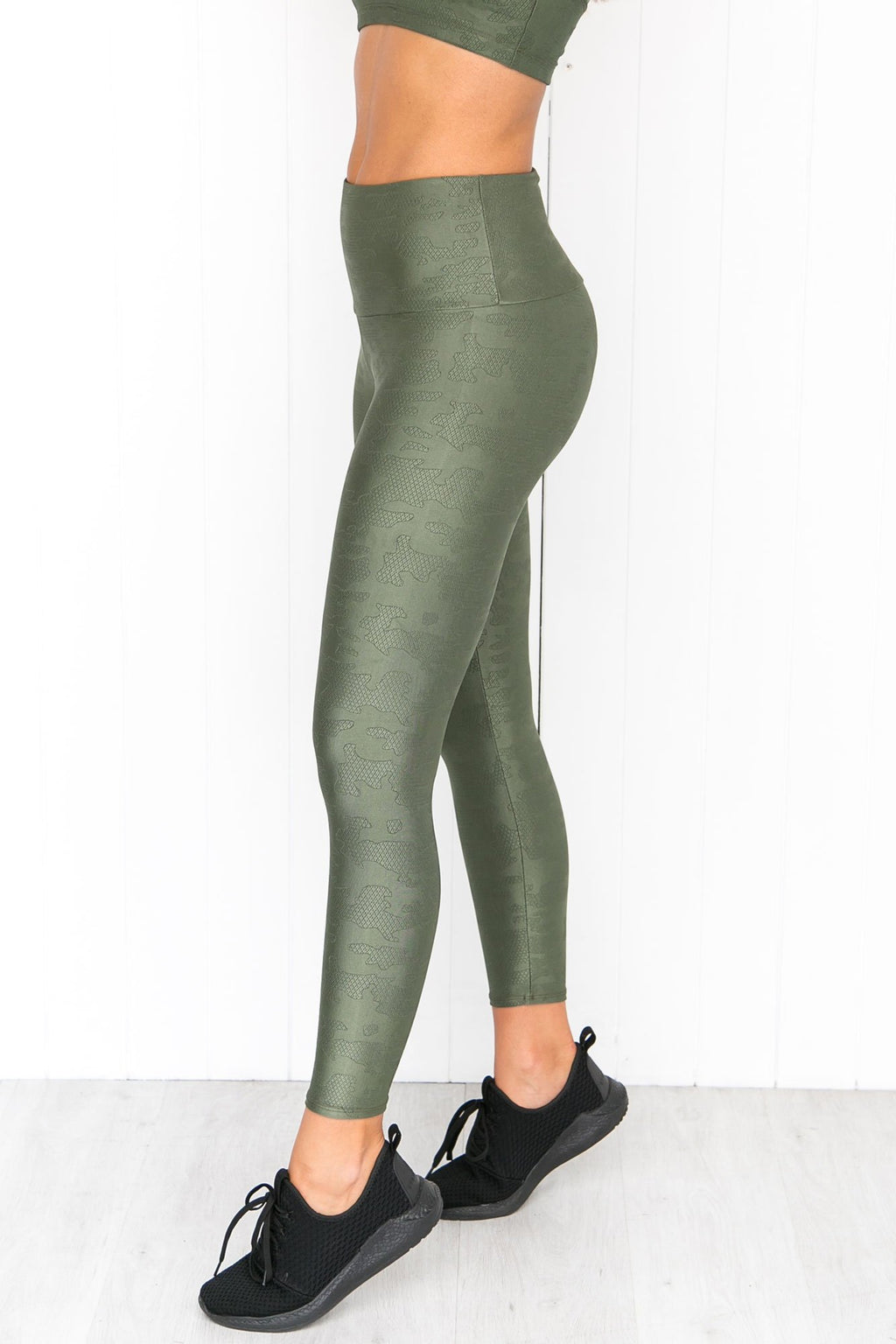 Jacquard Midi Leggings - Olive Twist - PURE DASH