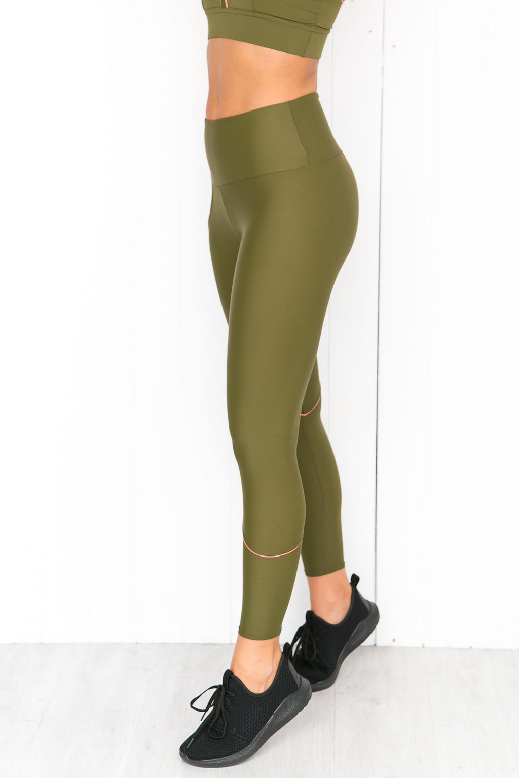 Hyper Beam Midi Leggings - Olive Twist/Coral - PURE DASH