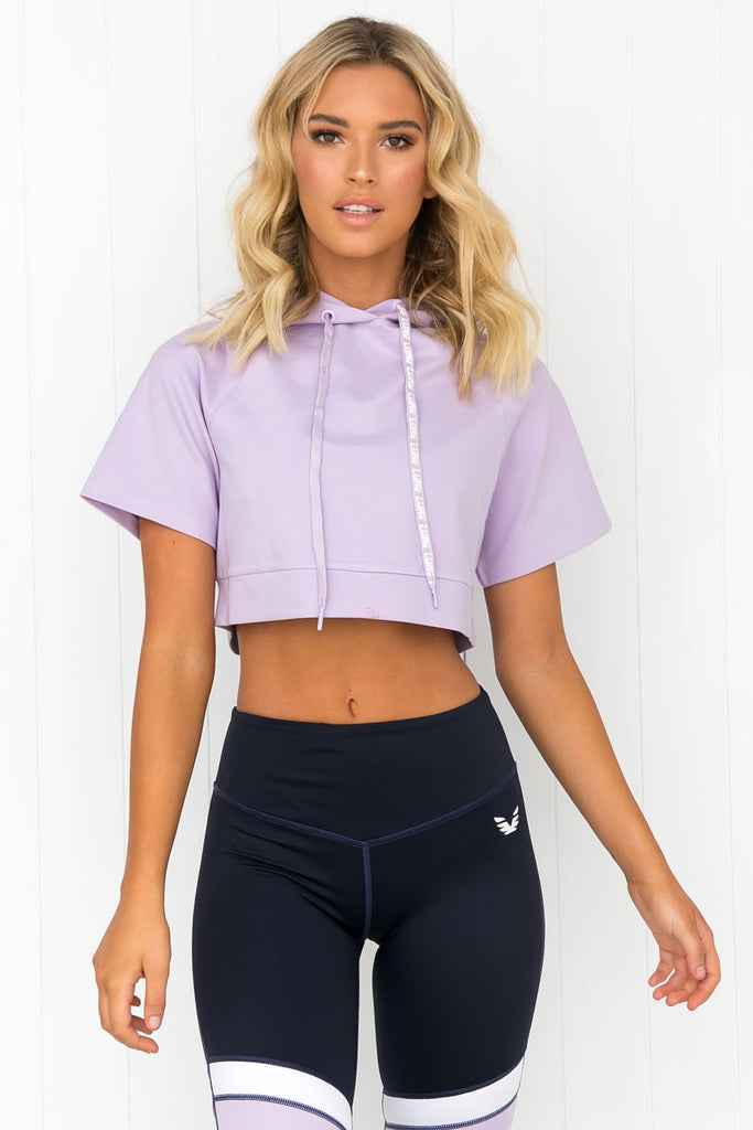 Double Play Cropped Hoodie - Lilac - PURE DASH