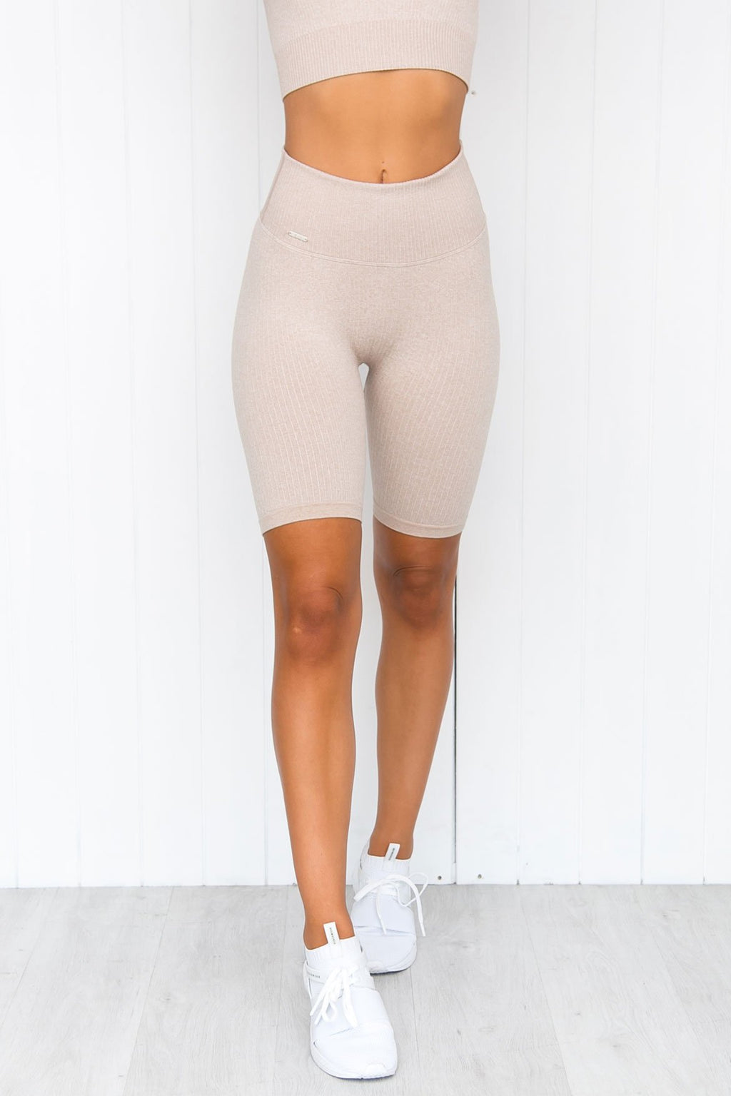 Beige Ribbed Seamless Bike Shorts - PURE DASH