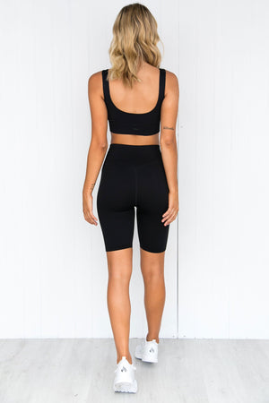 Black Ribbed Seamless Bike Shorts - PURE DASH
