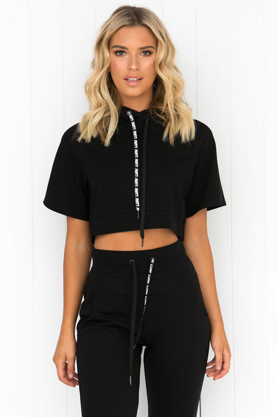 Double Play Cropped Hoodie - Black - PURE DASH