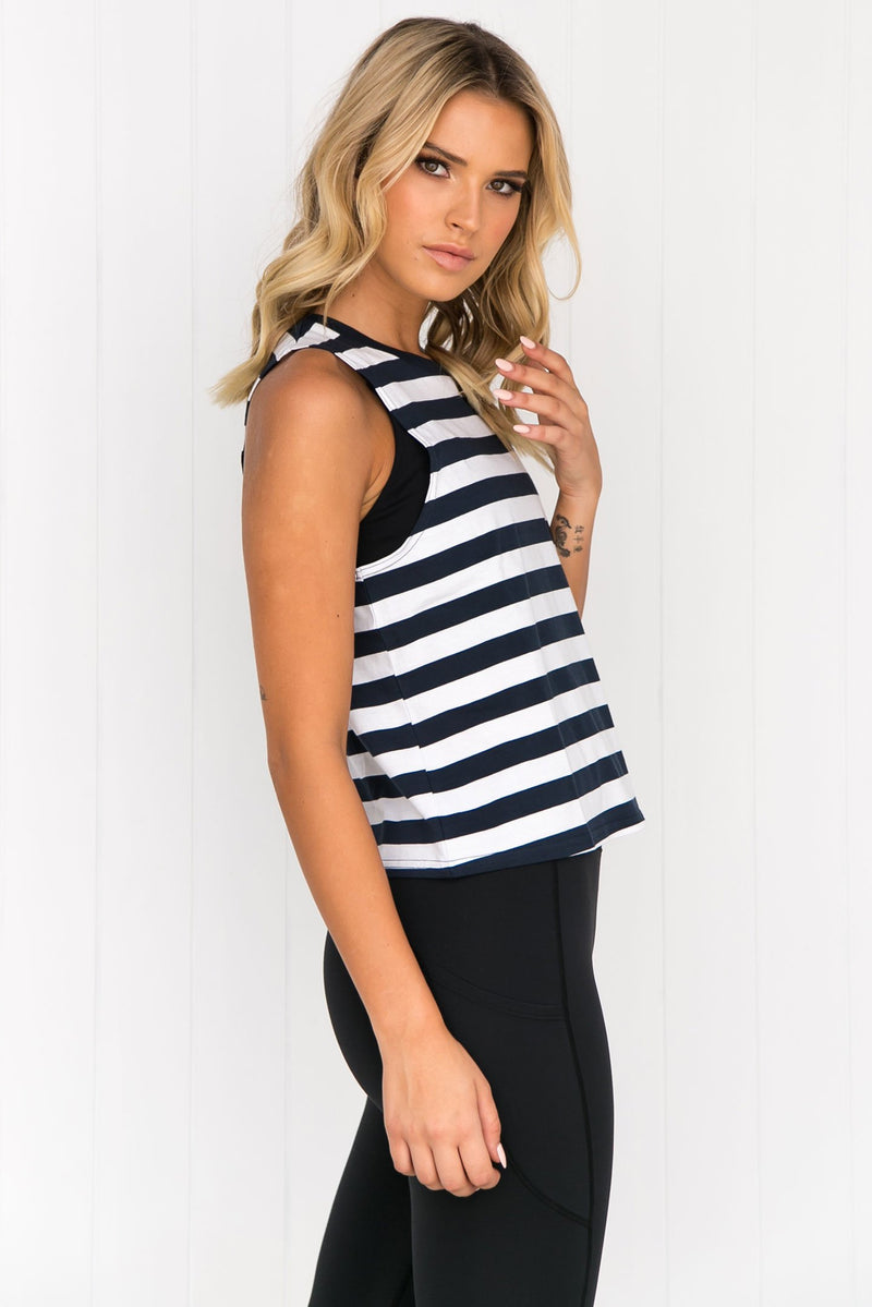 Crop It Like Its Hot Tank - Navy/White - PURE DASH