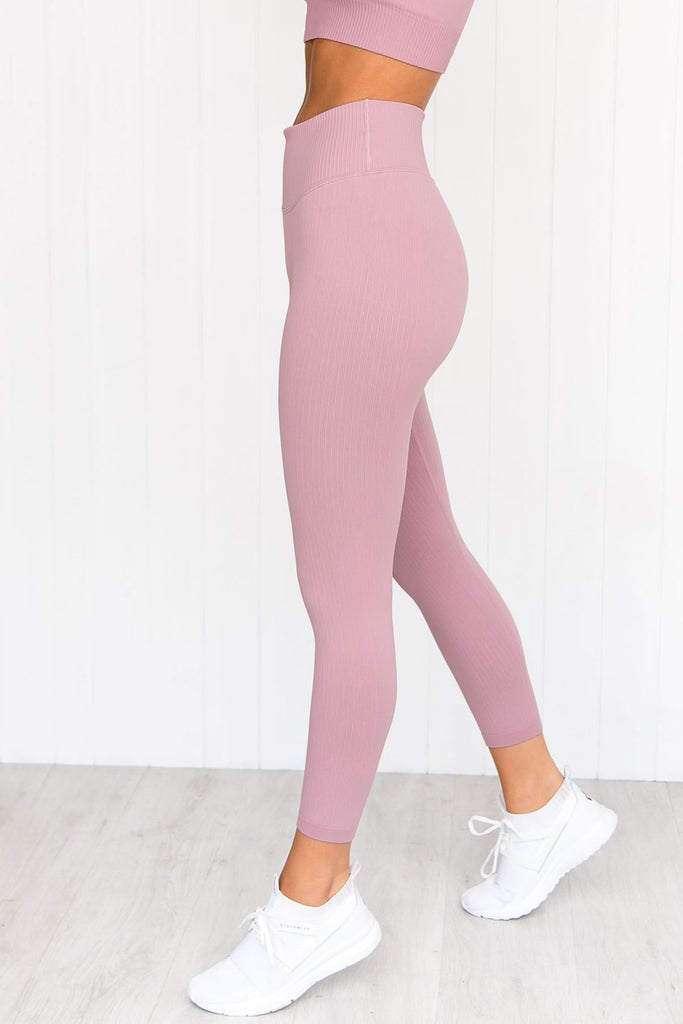 Sunset Haze Ribbed Seamless 7/8 Tights - PURE DASH