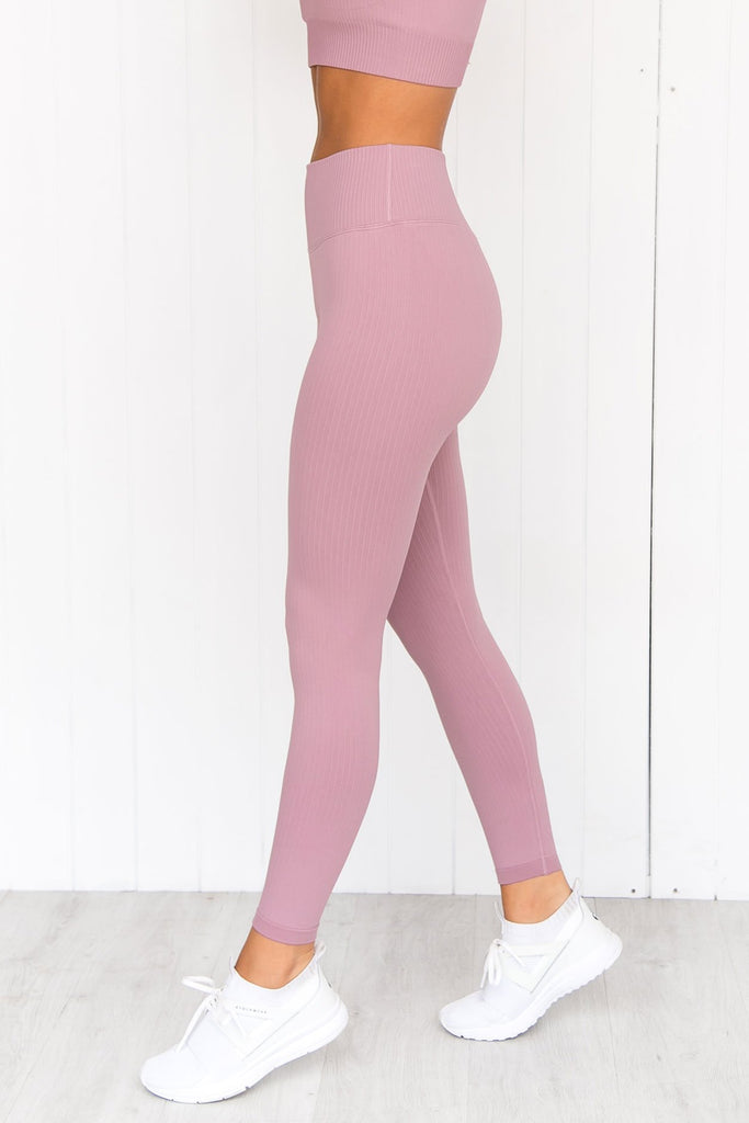 Sunset Haze Ribbed Seamless Tights - PURE DASH