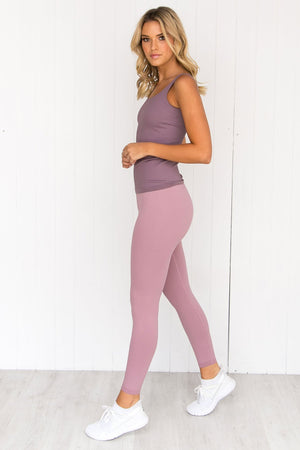 Pale Plum Ribbed Seamless Singlet - PURE DASH