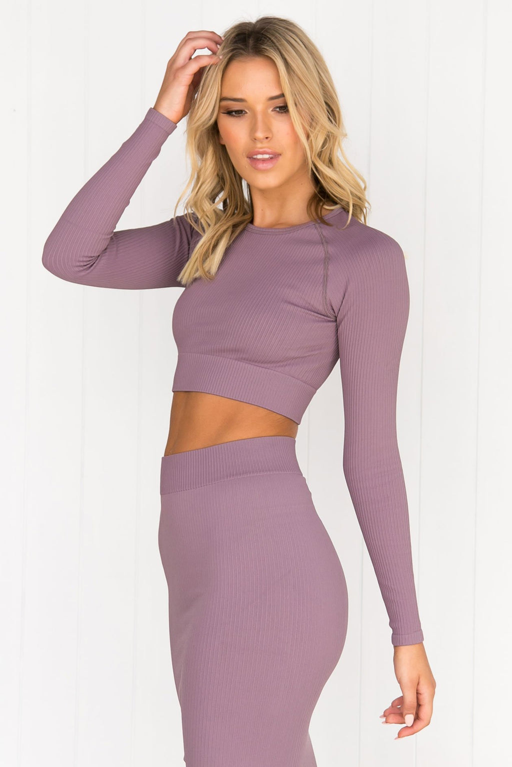 Pale Plum Ribbed Seamless Long Sleeve - PURE DASH