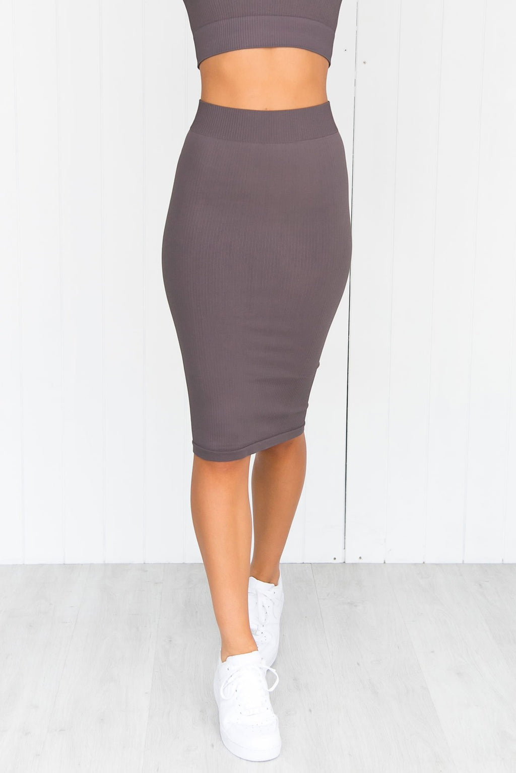 Concrete Ribbed Seamless Skirt - PURE DASH