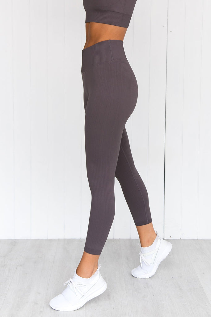 Concrete Ribbed Seamless 7/8 Tights - PURE DASH