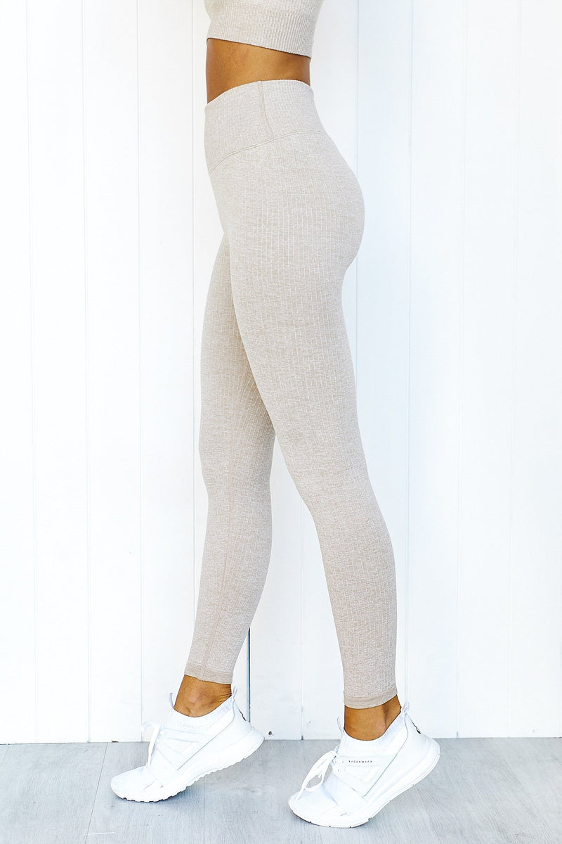 Beige Ribbed Seamless Tights - PURE DASH