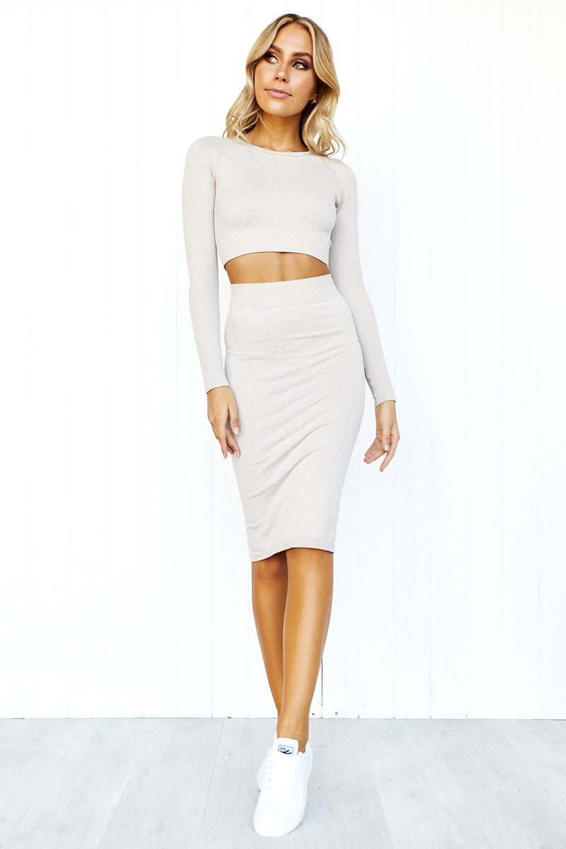 Beige Ribbed Seamless Skirt - PURE DASH