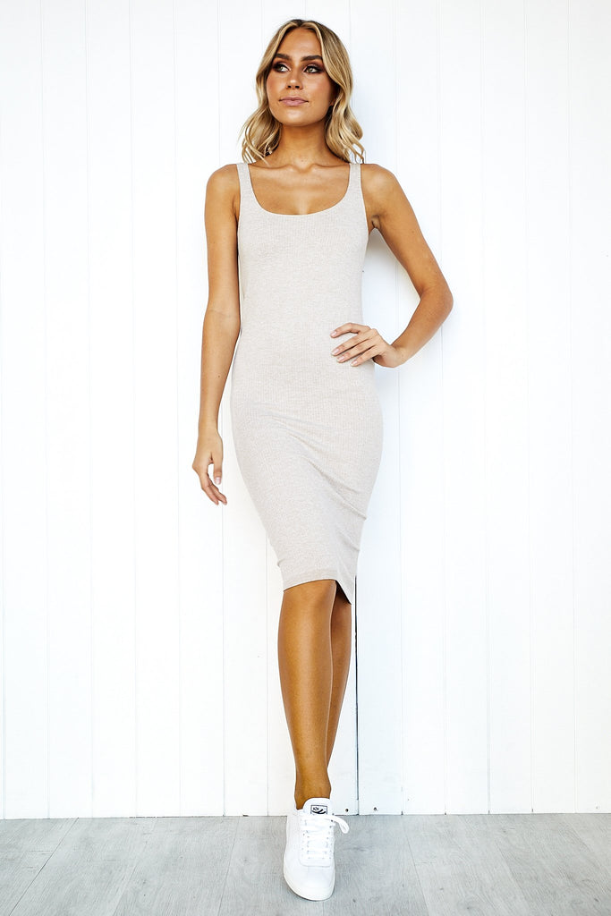 Beige Ribbed Seamless Dress - PURE DASH