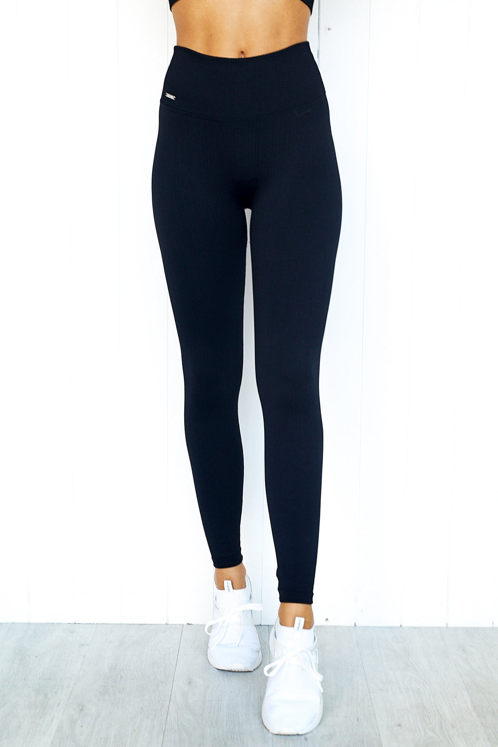 Black Ribbed Seamless Tights - PURE DASH