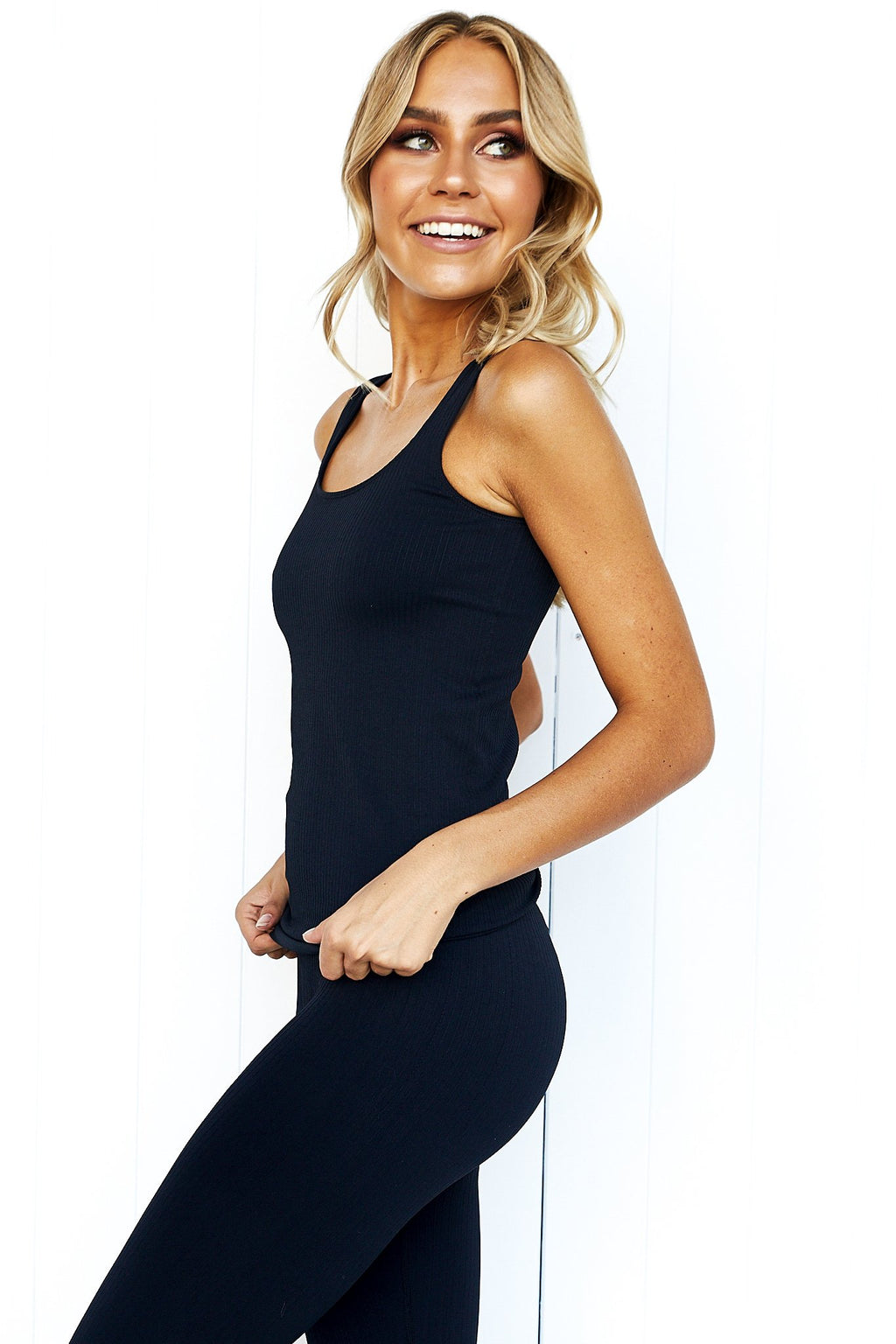 Black Ribbed Seamless Singlet - PURE DASH
