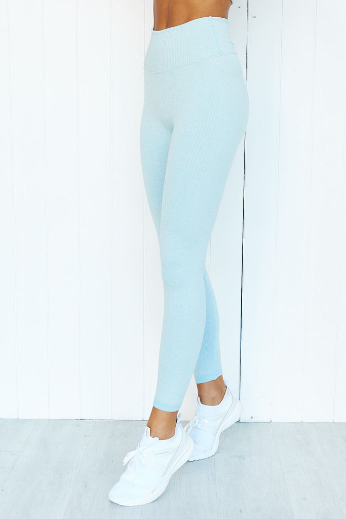 Turquoise Ribbed Seamless 7/8 Tights - PURE DASH