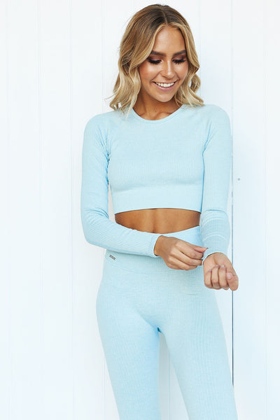 Turquoise Ribbed Seamless Long Sleeve