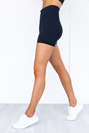 Navy Ribbed Midi Biker Shorts
