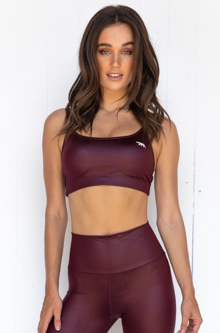 Crystal Push Up Sports Bra - Claret