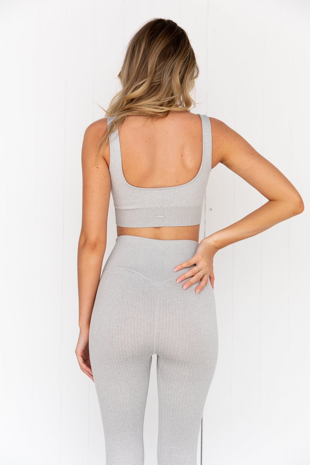Light Grey Melange Ribbed Seamless Bra