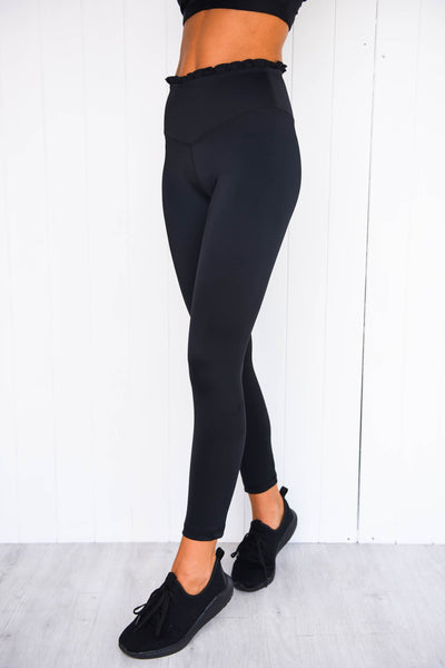 Frill Me 7/8 Leggings - Black - PURE DASH