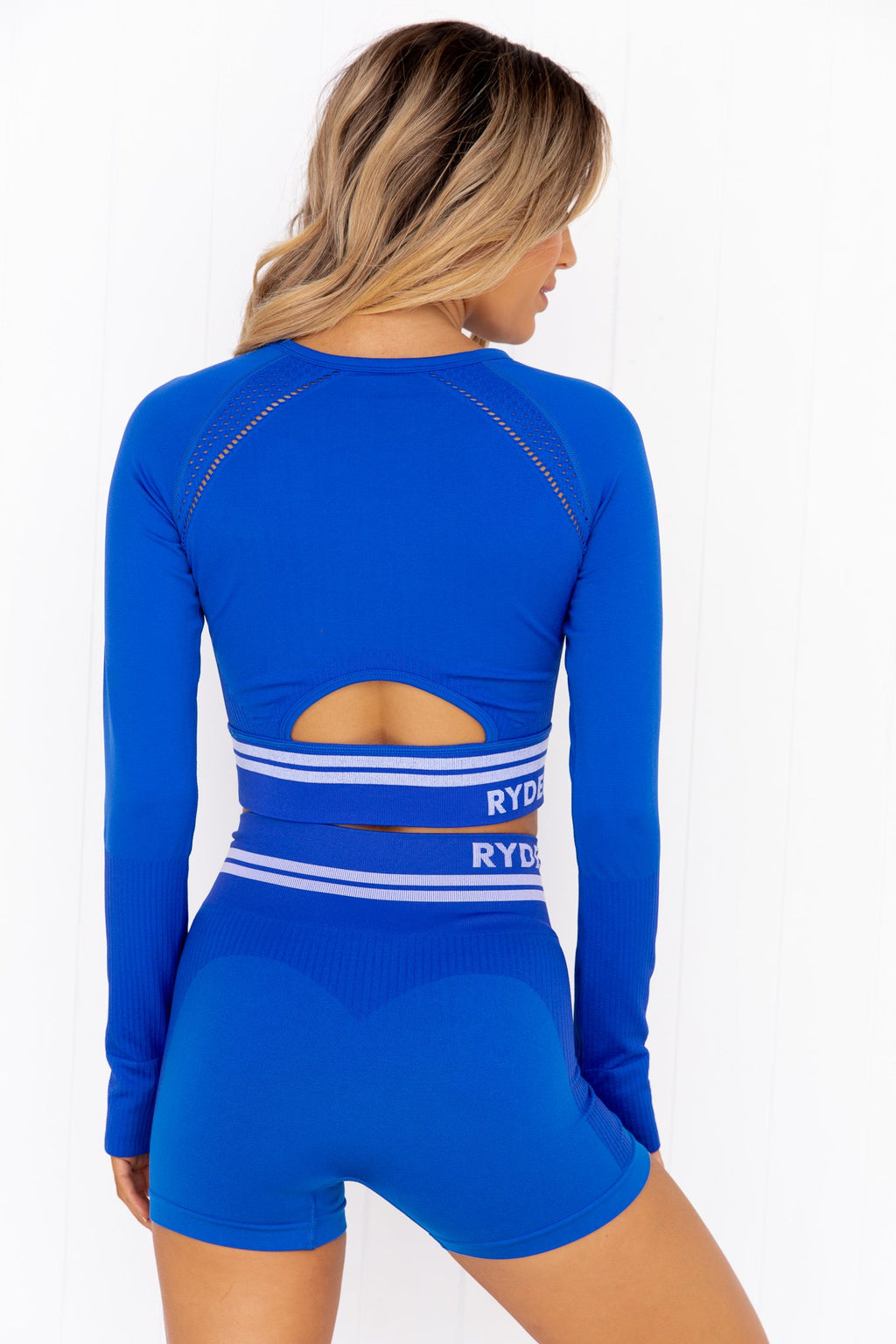 Freestyle Seamless Long Sleeve Crop - Blue - PURE DASH