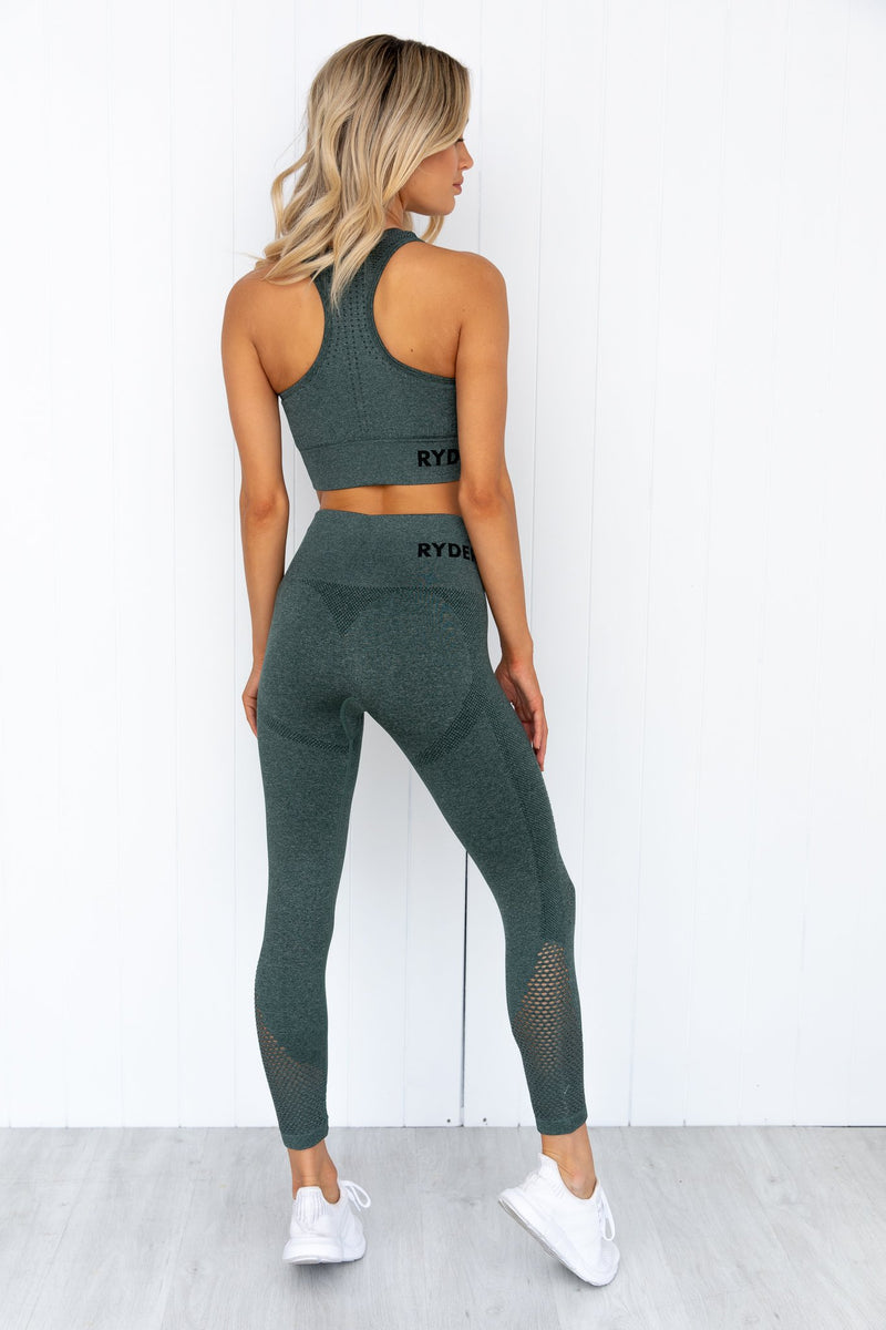 Seamless Staples Sports Bra - Forest Green Marl