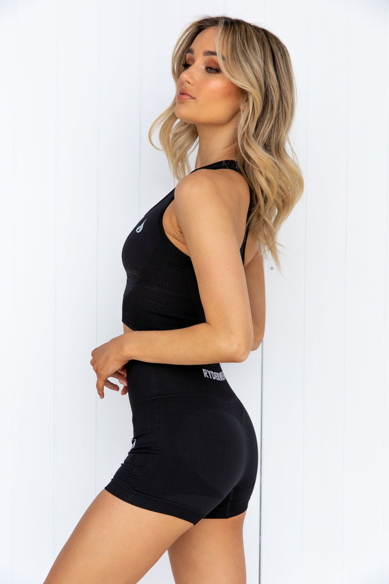 Electra Seamless Crop Top - Black