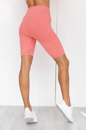 Bubblegum Washed Ribbed Bike Shorts