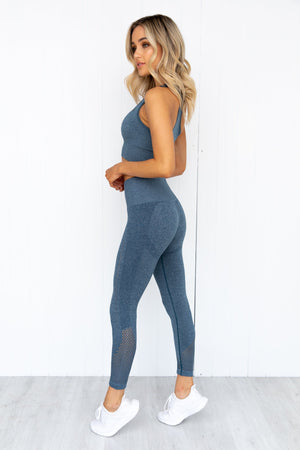 Seamless Staples Sports Bra - Teal Marl