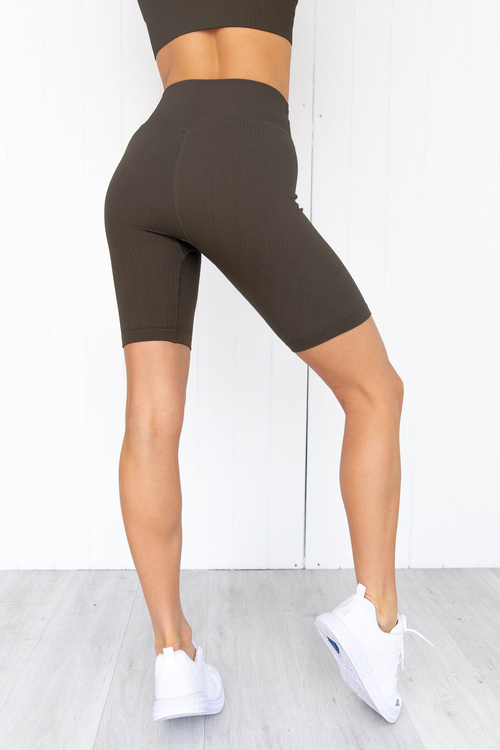 Khaki Ribbed Seamless Bike Shorts