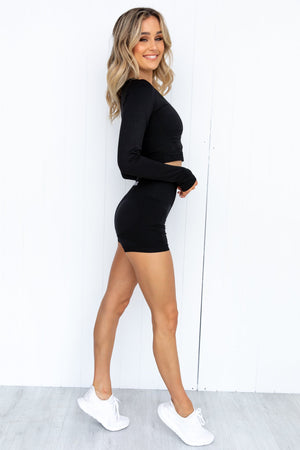 Electra Seamless Long Sleeve Crop - Black
