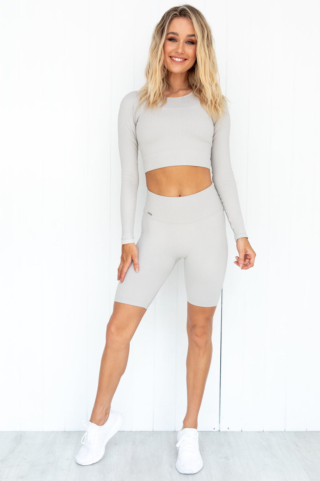 Cloud Ribbed Crop Long Sleeve | Pure Dash