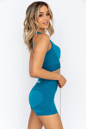 Electra Seamless Crop Top - Electric Blue