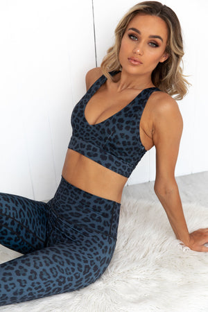 Midnight Leopard Push Up Crop - PURE DASH