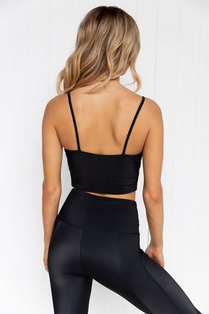 Cami Belle Crop - Black Rib