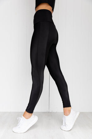 Sweetheart Rib Midi Leggings - Black